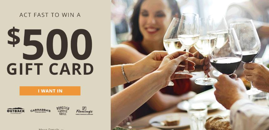 Bloomin Brands Eat, Earn And Redeem Sweepstakes