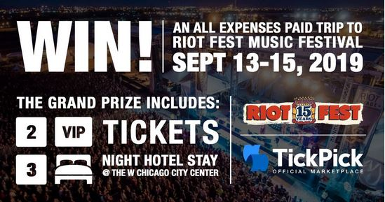TickPick – 2019 Riot Fest Sweepstakes – Chance To Win A Tickets